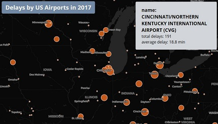 Delays by US Airports in 2017